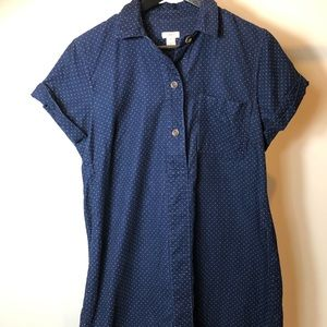 J. Crew Dresses - J.Crew Navy Blue corduroy Polka Dot dress M